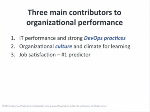 Three main contributors for organizational performance