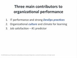 Three main contributors for organizational performance